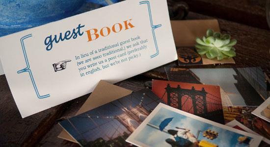 wedding postcards instead of guestbook alternative wedding